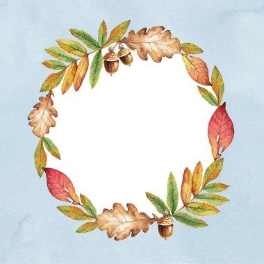 wreath with orange leaves.