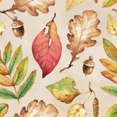Watercolor illustration of leaves