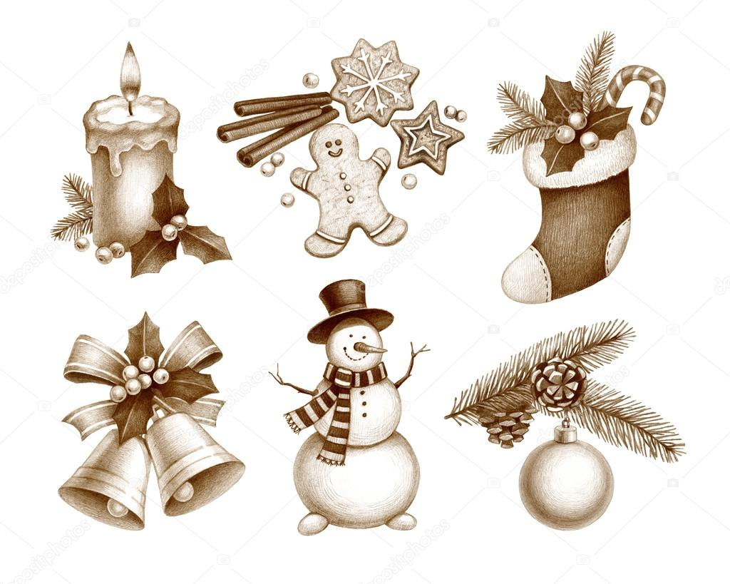 Pencil drawings of christmas decorations stock photo for Drawing decoration ideas