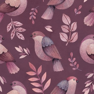 Birds and leaves pattern