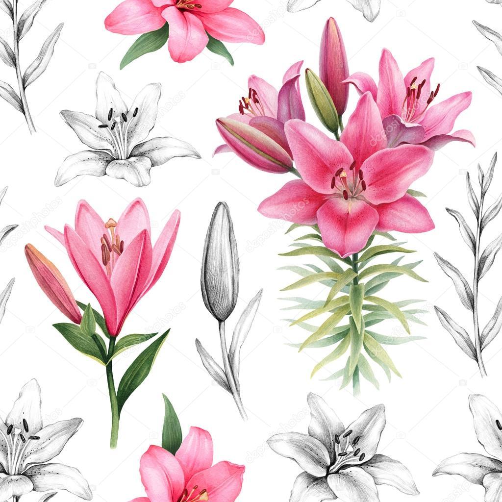 ユリの花のイラスト ストック写真 Sashsmir 121990330