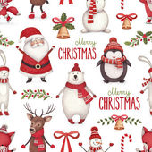 Akvarel ilustrací Vánoce. Bezešvé vzor