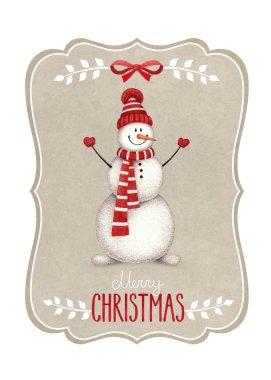 Watercolor illustration of snowman