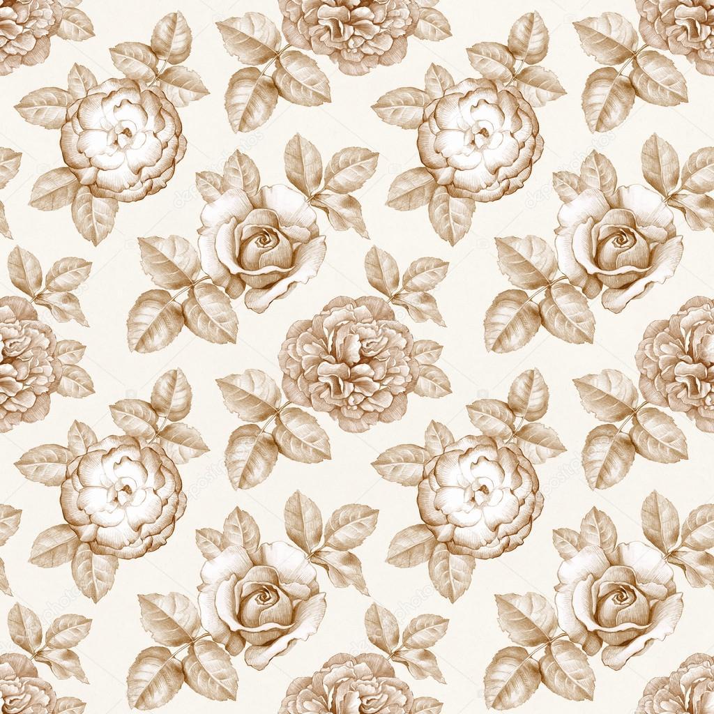 Muster Mit Blumen Bleistiftzeichnungen Stockfoto