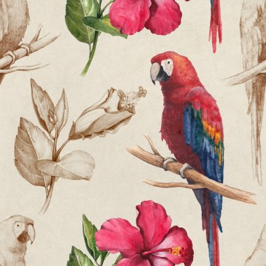 Macaw and hibiscus flower  pattern