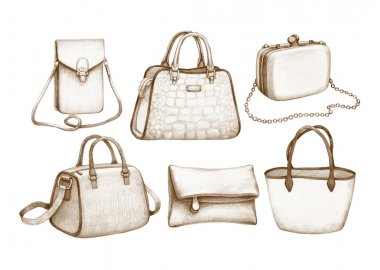 Pencil drawings of handbags