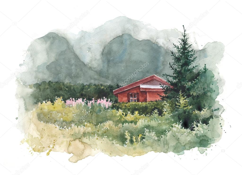 Watercolor house and mountains