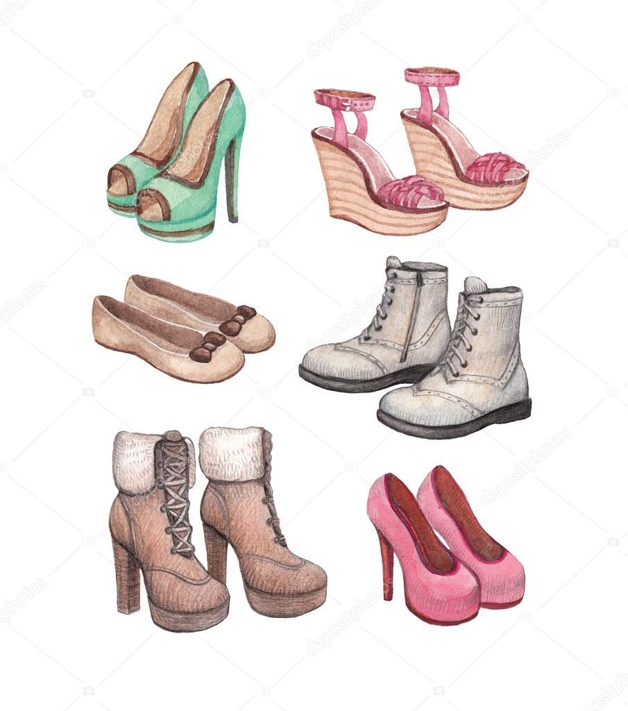 Watercolor shoes illustration — Stock Photo © Sashsmir ...