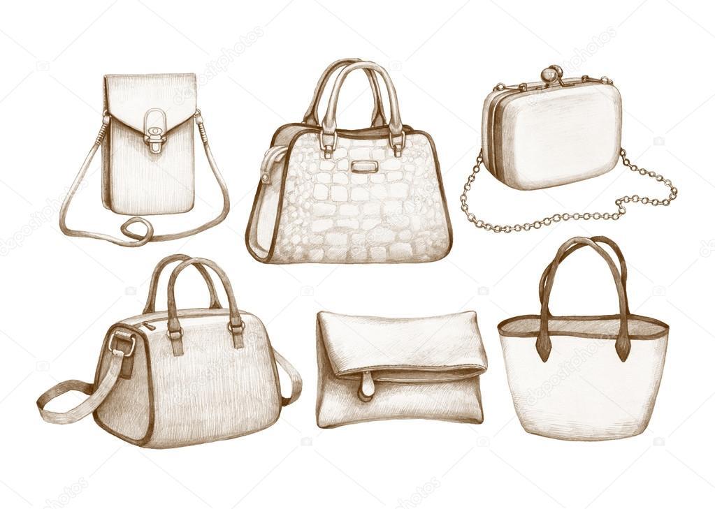 Dibujos: bolsos | Dibujos a lápiz de bolsos — Foto de stock ...