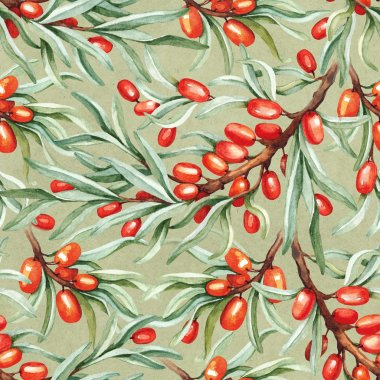 Seamless pattern with watercolor sea buckthorn