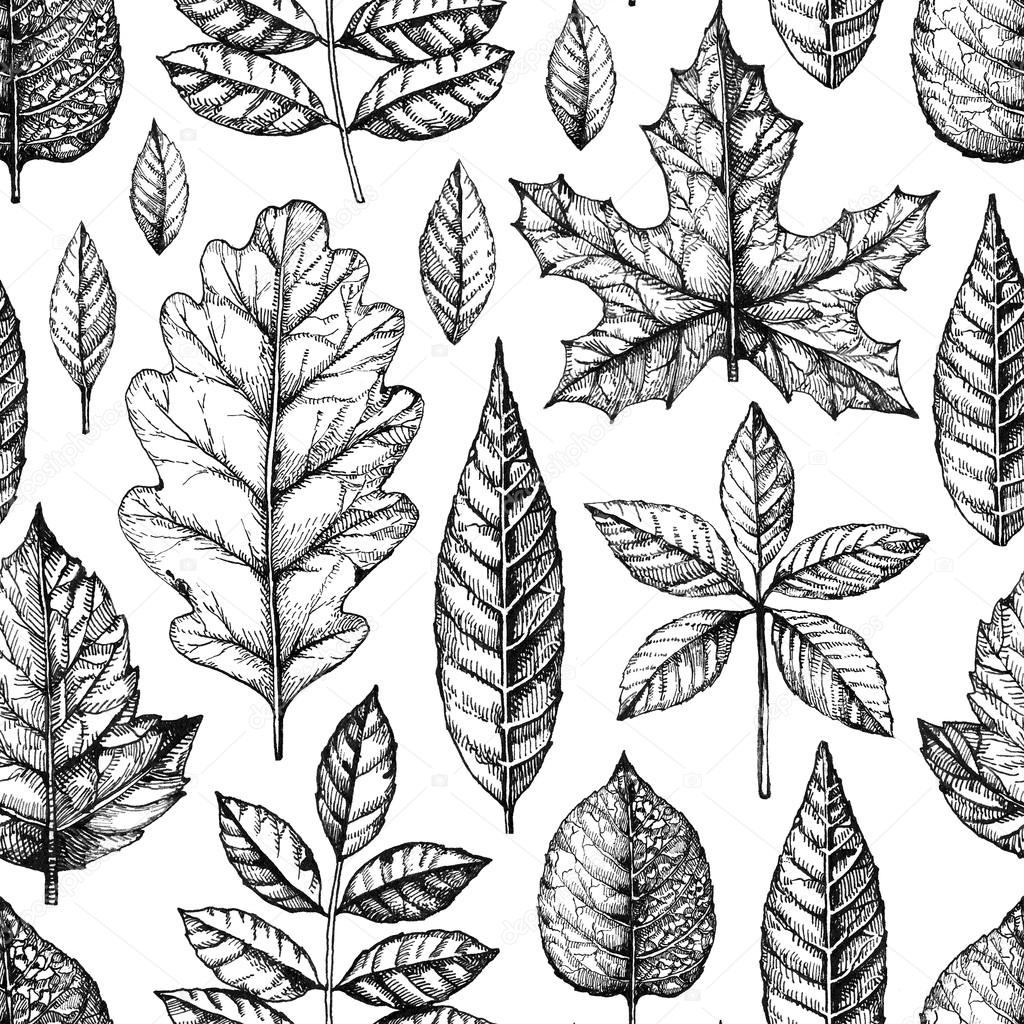 Seamless Pattern With A Leaves Drawing Stock Photo C Sashsmir 69688937