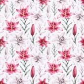 Varrat nélküli mintát liliom virágok rajzokkal