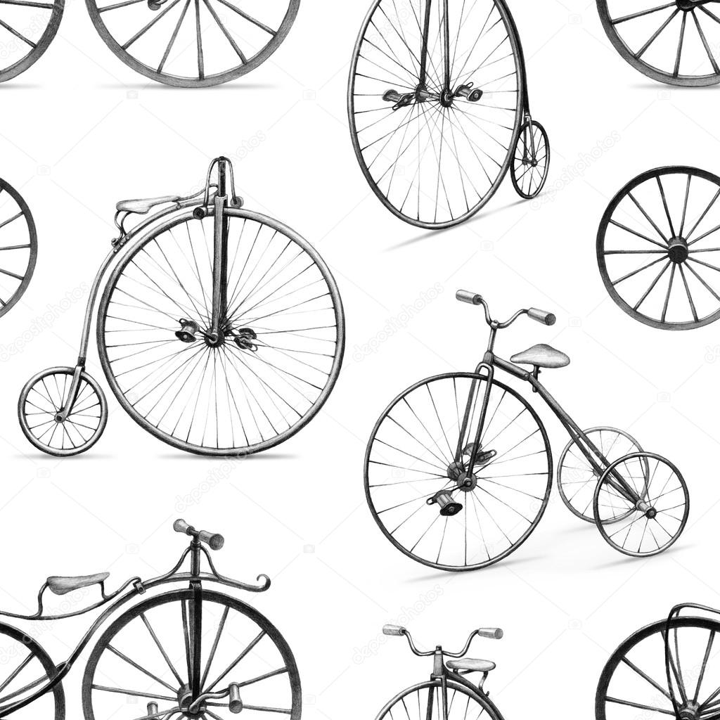 Pencil drawing of retro bicycle seamless pattern stock photo