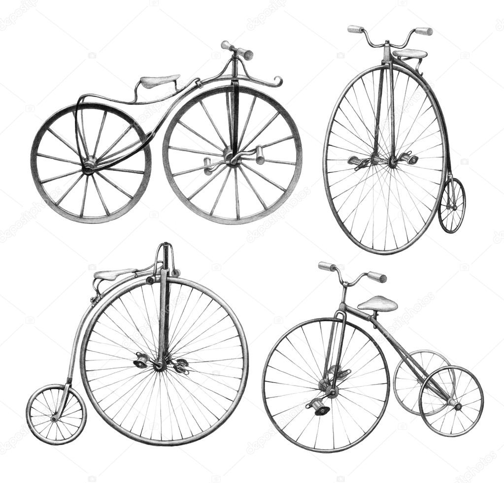 Pencil drawing of retro bicycles stock photo sashsmir 76213857