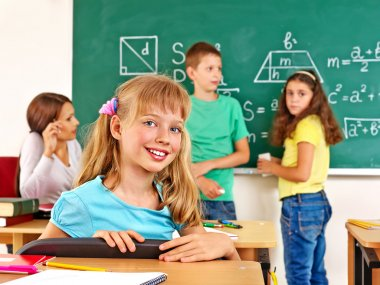 School children with teacher.