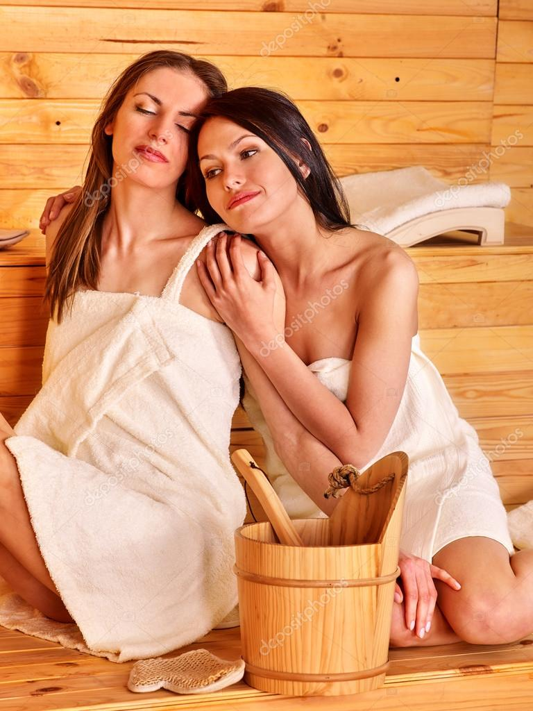 Two Girls in sauna.
