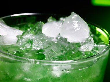 Green cocktail with crushed ice