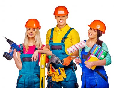 Group of people builders  with construction tools. Isolated. Two women and one man. stock vector