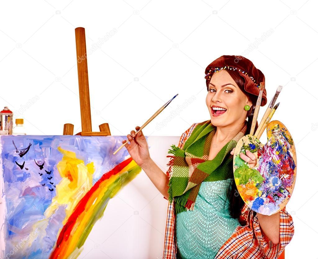 девушка художник за работой