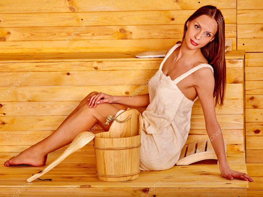 Young girl in sauna, overwight nude