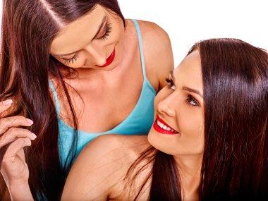 Lesbian women hugging