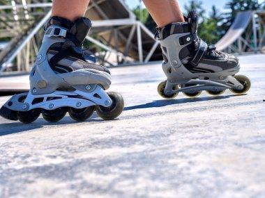 riding roller skates