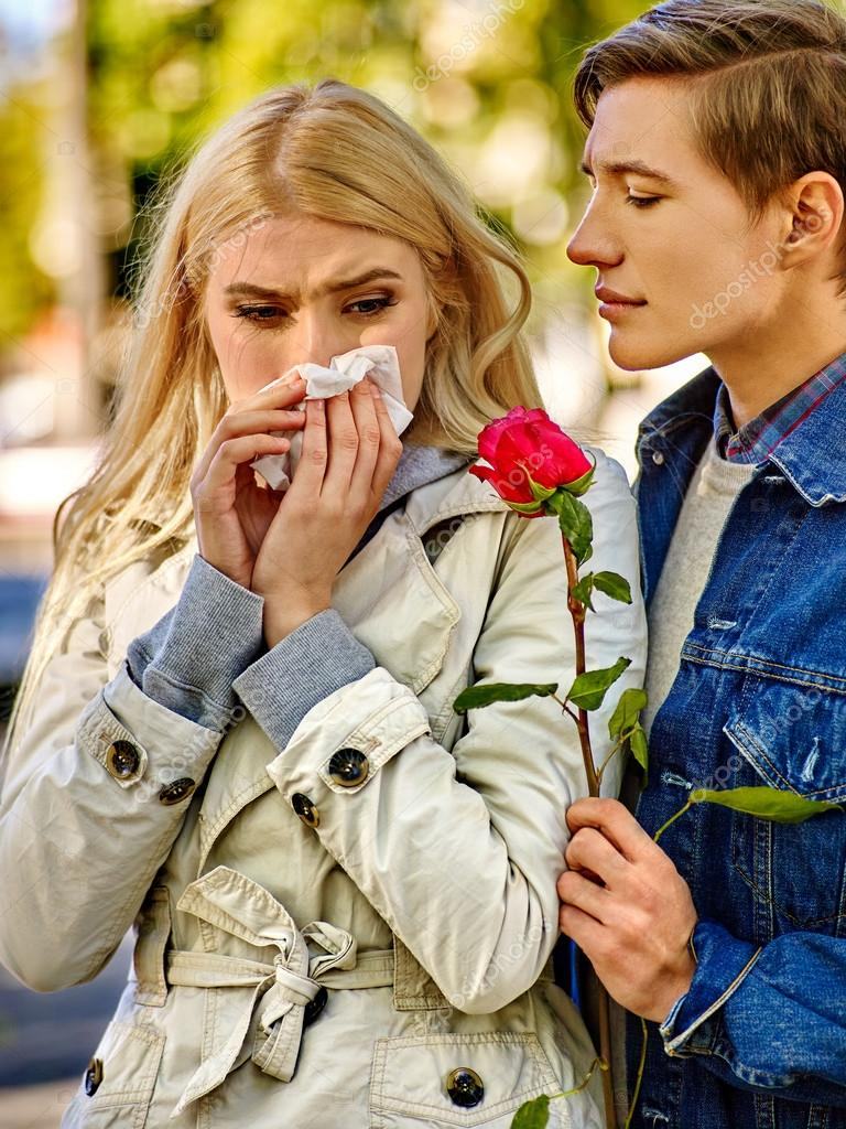 Woman crying after  Quarreling With Man. Withered rose.