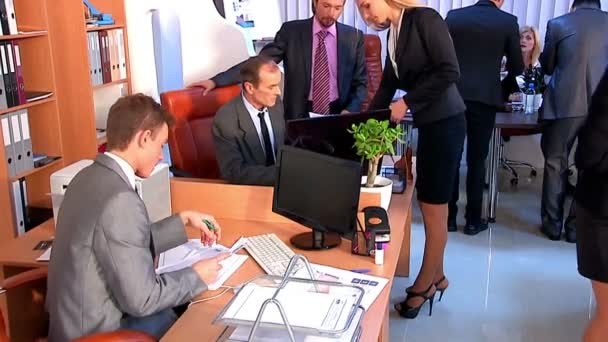 Group business people in office. Used dolly system