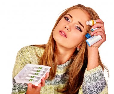 Upset women. The reasons may be different. Colds, allergies or depression