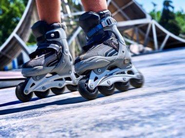 Girl wearing roller skates