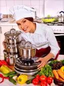 Fényképek Boldog női shef főzés