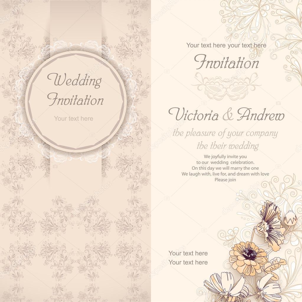 Hochzeit Einladung Vorlage Beige U2014 Stockvektor