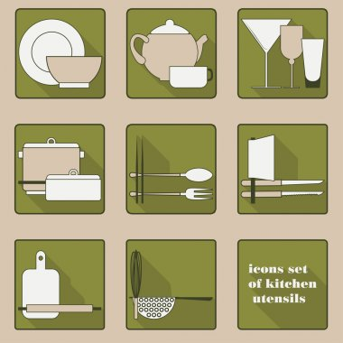 Set of icons of kitchen utensils