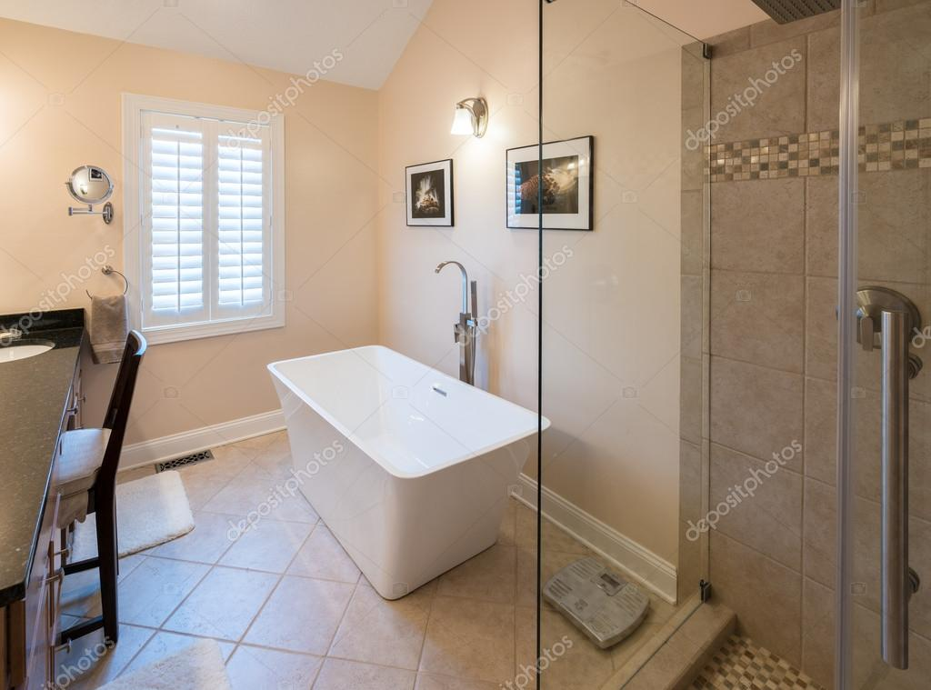 Bagno moderno con doccia e vasca freestanding foto stock steveheap 117496418 for Bagno moderno con doccia