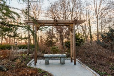 Wooden arbor in forest with stone seat