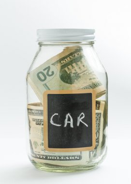 Glass Jar with chalk panel used for car expenses