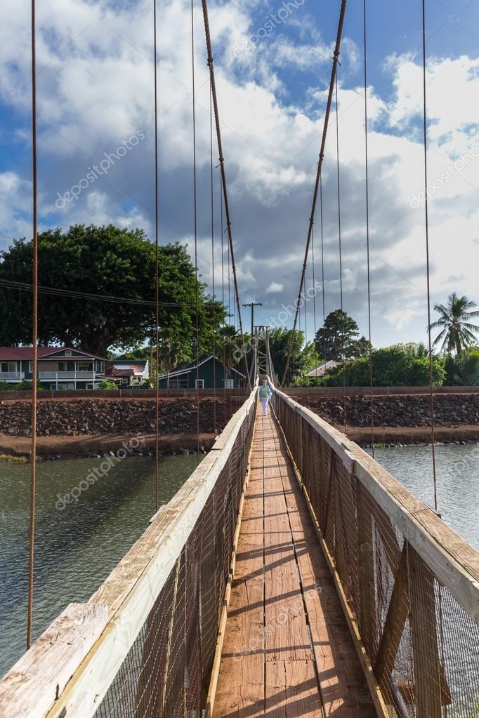 View Down The Famous Swinging Bridge In Hanapepe Kauai