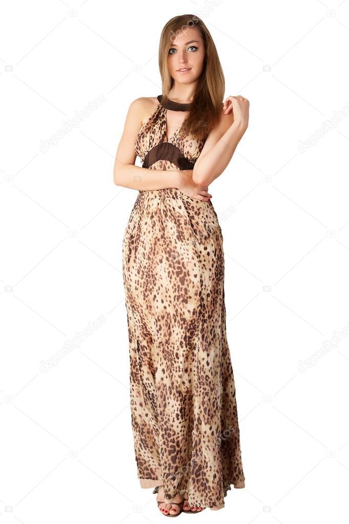 Σέξι μοντέλο σε ζώο μακρύ φόρεμα εκτύπωσης — Φωτογραφία Αρχείου ... aa13f04c5c7