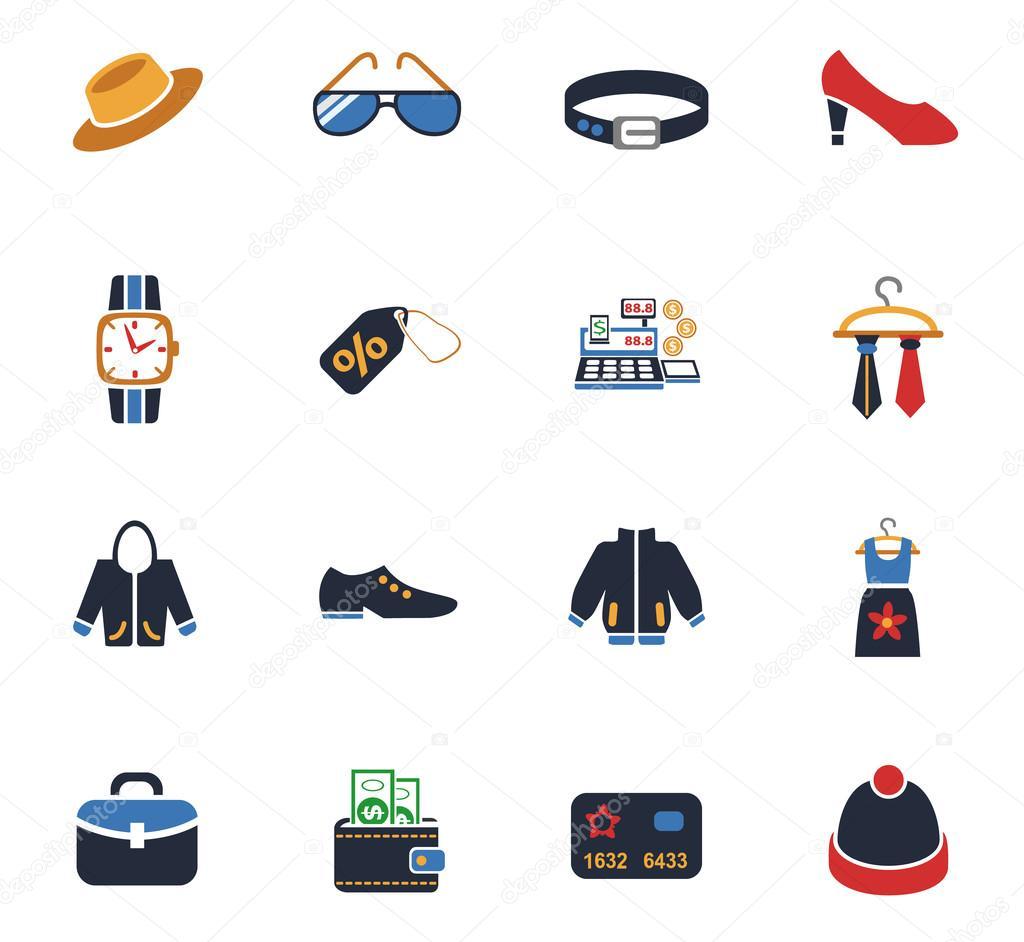 74f30742b conjunto de ícones de loja de roupas — Vetor de Stock © ayax55 ...