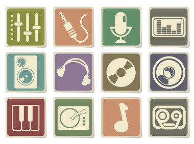 Audio & music simple vector icons