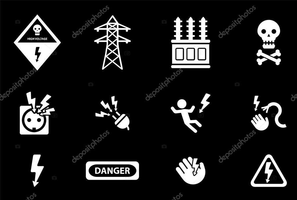 Hohe Spannung einfach Symbole — Stockvektor © ayax55 #88111424