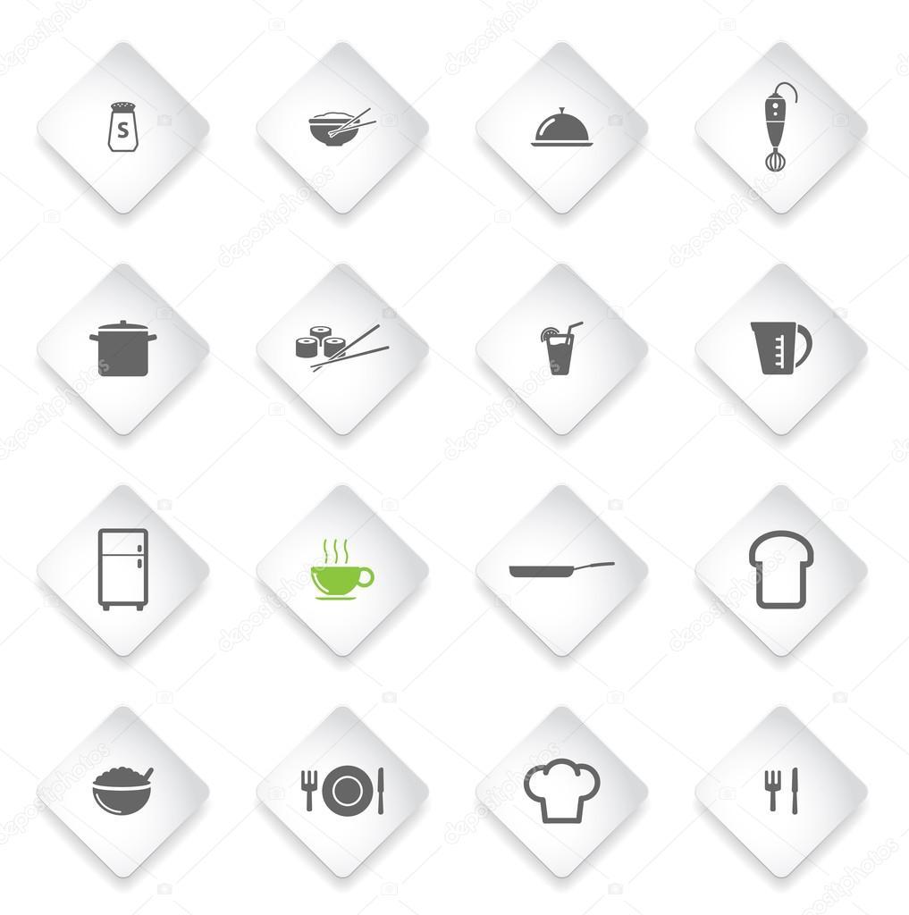 Nahrungsmittel und Küche einfach Symbole — Stockvektor © ayax55 ...
