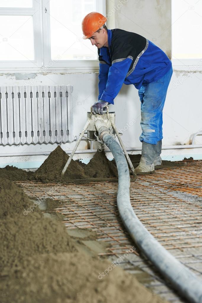 Boden Zement Putz Arbeit Abdecken Stockfoto C Kalinovsky 65725091