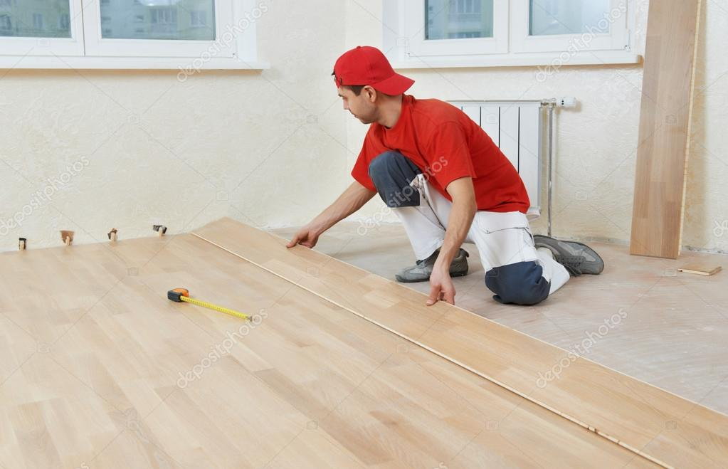Carpenter Worker Joining Parket Floor Stock Photo Kalinovsky