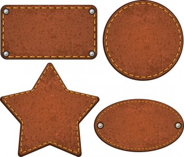 Set of different leather labels. Vector illustration stock vector