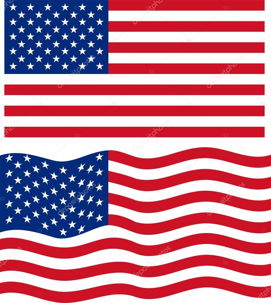 flat and waving american flag vector stock vector khvost 53749069 rh depositphotos com waving american flag vector free download waving american flag vector graphic