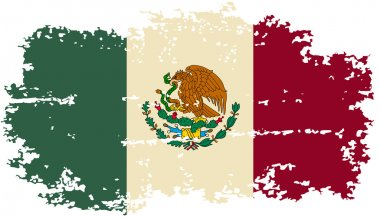 Mexican grunge flag. Vector illustration.