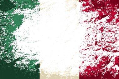 Italian flag. Grunge background. Vector illustration