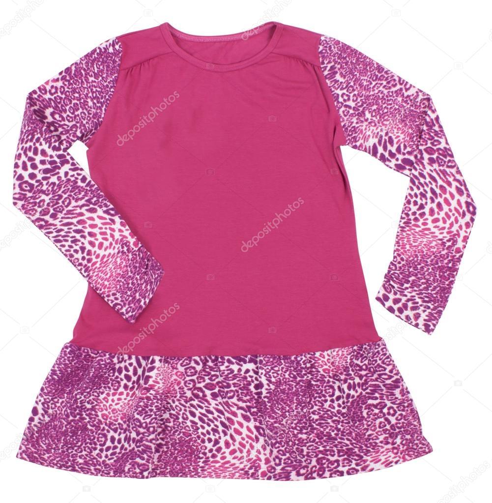 88a624a7db52 Vestidito rosa para las niñas de infantil. Aislado sobre fondo blanco —  Fotos de Stock