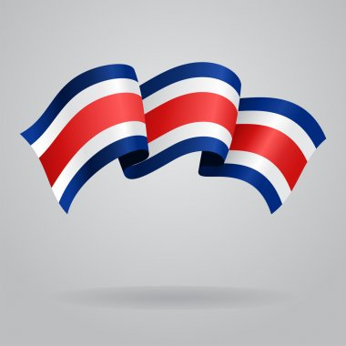 Costa Rican waving Flag. Vector illustration